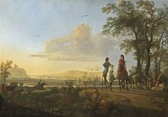 From National Gallery of Art, Washington, D.C., Aelbert Cuyp, Horsemen and Herdsmen with Cattle (1655/1660), Oil on canvas, 47 1/4 × 67 1/2 in