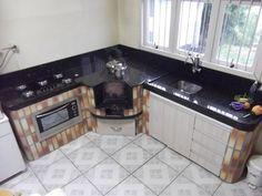 fogão campeiro integrado com a cozinha                              …