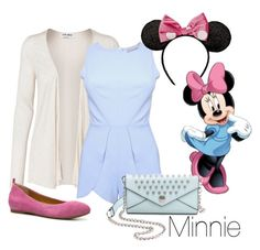 """""""Disney Inspired Outfits: Minnie Mouse"""" by morganautical ❤ liked on Polyvore featuring Vero Moda, Disney, RoomMates Decor, Rebecca Minkoff, Audrey Brooke, disney, disneybound, DisneyWorld, minniemouse and disneyland"""