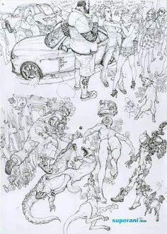 Kim Jung Gi ↩☾それはすぐに私は行くべきである。 ∑(O_O;) ☕ upload is galaxy with… Figure Sketching, Figure Drawing, Comic Manga, Comic Art, Junggi Kim, Drawing Sketches, Drawings, Drawing Guide, Kim Jung