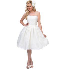 Unique Vintage 1950s Style Pearl Illusion Belle Wedding Dress