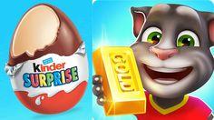 Fun kids video games Kinder Surprise Eggs Opening + My Talking tom Gold run