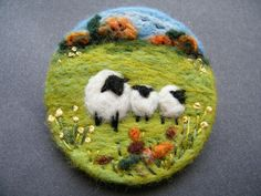 Hand Made Needle Felted Brooch - ' Autumn morning ' by Tracey Dunn | eBay