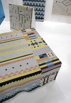 Handwoven dhurries by a Swedish design studio Oyyo.