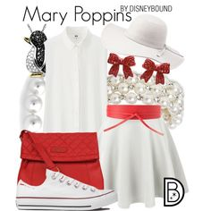 Mary Poppins by leslieakay on Polyvore featuring Uniqlo, Converse, Kenneth Cole, Bling Jewelry, Lord & Taylor, Charlotte Russe, MANGO, disney, disneybound and disneycharacter