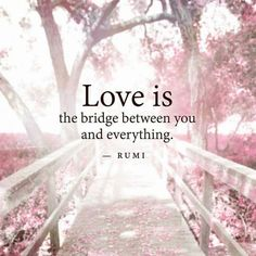 "soulmates-twinflames: "" Love is the bridge between you and everything.~Rumi www.twinflameconection.com """