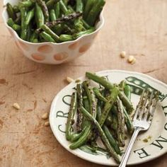 Charred Green Beans with Lemon Verbena Pesto  -  Miss Manners says that #greenbeans are one of the few foods acceptably eaten with our hands. Time to play with our food! From Epicurious, found at www.edamam.com.