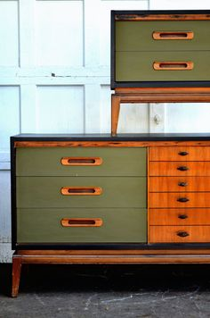 Midcentury replica hand painted dresser by BlackSheepMill