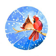 Cardinal Holiday Card. $5.00 Canadian Animal Families, a watercolour series by Marisa Pahl.