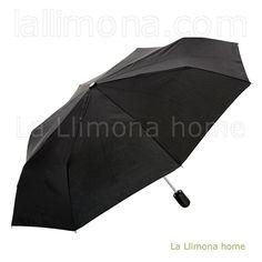 Paraguas Bisetti negro para hombre abierto, plegable y antiviento.  http://www.lallimona.com/online/paraguas-originales/