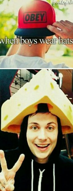 Frank Iero wearing a cheese hat is my aesthetic