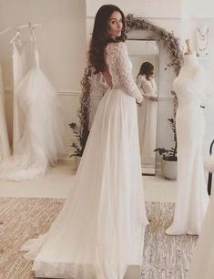 Sexy A Line Long Chiffon Long Sleeve Wedding Dress,Lace V-neck Sweep Train Bridal Dress