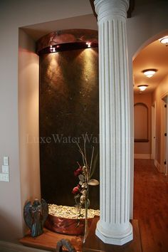 A water wall can be fit to just about anywhere giving a home that touch of luxury.
