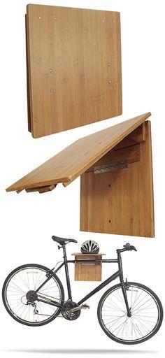Bamboo Wooden Bike Rack Fold-Away Wall Storage