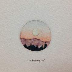 Day 56 : The longest day, with the most beautiful full moon I've ever seen* as a reward. *the picture does not do it justice at all. 25 x 25 mm. #365paintingsforants #watercolour #miniature #moon (at...