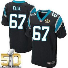 Men's Carolina Panthers #67 Ryan Kalil Black Team Color 2016 Super Bowl 50th Patch Bound Nike Elite Jersey