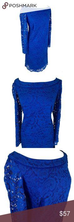 994ab482e08 Julian Taylor Cocktail Dress Blue Lace Sleeves NWT Size 14W Royal Blue  Julian Taylor Lace Cocktail