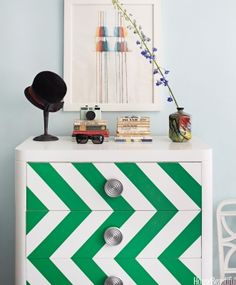 Chevron emerald and white chest