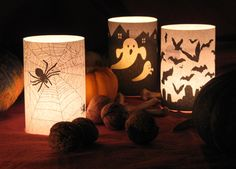This gave me an idea. Wrap battery operated candles with lightweight paper with Halloween images. Then just remove it when Halloween is over with. Diy Halloween, Halloween Vintage, Adornos Halloween, Manualidades Halloween, Halloween Candles, Theme Halloween, Holidays Halloween, Halloween Clothes, Costume Halloween