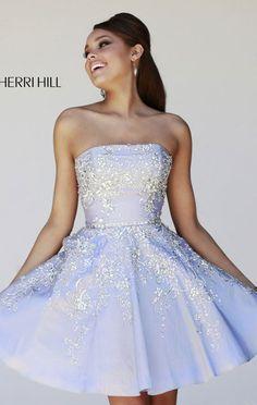 2015 Elegant Silver Strapless Beaded Short Party Dress [Sherri Hill 21362 Silver] - $172.00 : Prom Dresses 2015,Lastest Fashion Dress At promdressescustom.com