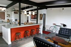 cool kitchen, Get the Look: Favorite Furniture from Jessica & Jonathan's 'Like-Eich' Ranch Decor Style Source List: Warm Industrial Warm Industrial, Industrial Living, Industrial Furniture, Kitchen Furniture, Industrial Design, Kitchen Spotlights, Ranch Decor, Industrial Apartment, Contemporary Home Decor