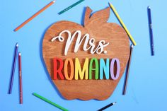 """A wonderful way to show your heartfelt appreciation at the end of the school year or for the holidays. Let your child's teacher know """"She is awesome to the core!"""" Personalized Wooden Signs, Wooden Name Signs, Personalized Teacher Gifts, Wood Signs, Teacher Name Signs, Nursery Signs, Wood Letters, Handmade Wooden, Make It Yourself"""