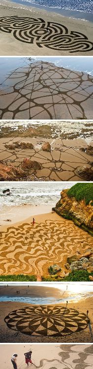Andres Amador is an artist famous for creating incredible and fragile works on the sand of beaches around the world.