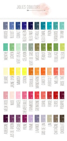 BE_palette de couleurs / French color palette vocabulary Teaching French, French Colors, French Education, French Grammar, French Classroom, French Resources, Web Design, French Immersion, Teaching