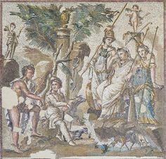 Antioch Mosaics - The Judgement of Paris, Louvre Museum Aphrodite, Hera Goddess, Goddess Of Love, Ancient Rome, Ancient Art, Ancient Greek, Judgement Of Paris, Greek Islands Vacation, Zeus And Hera