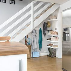 White staircase with storage space underneath Understairs Storage Space Staircase storage white Staircase Storage, Hallway Storage, Stair Storage, Storage Spaces, Easy Storage, Coat Storage, Staircase Design, Closet Under Stairs, Space Under Stairs