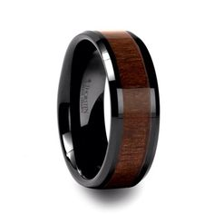 Wood inlay wedding band for him