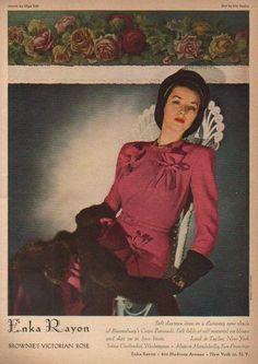 Sophisticatedly beautiful Enka Rayon Victorian Rose dress (1944). #vintage #1940s #fashion #ads