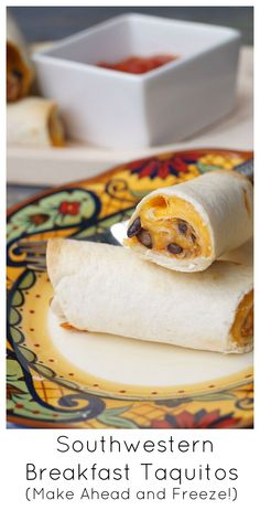Southwestern Breakfast Taquitos-These can be made ahead, frozen, and then baked for a quick, healthy breakfast!