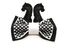 Items similar to gift him bow tie for men embroidered black white chess bowtie gift ideas groomsman tie gifts boyfriend for chess lovers black wedding on Etsy Bows, Etsy Shop, Tie, Black And White, Trending Outfits, Unique Jewelry, Handmade Gifts, Beauty, Vintage