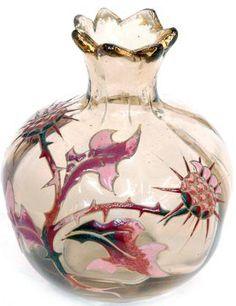 Emile Gallé - Vase 'Chardons' - Verre émaillé c.1890-1900 Enamelled Art-Glass♥≻★≺♥