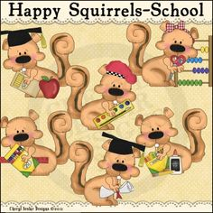 Happy Squirrels School 1 - Clip Art by Cheryl Seslar