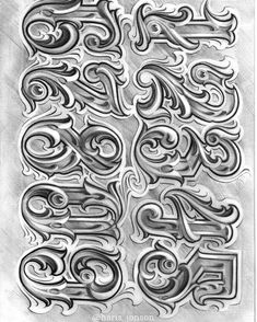 No photo description available. Calligraphy Tattoo Fonts, Tattoo Fonts Alphabet, Tattoo Lettering Styles, Tattoo Design Drawings, Tattoo Script, Tattoo Sleeve Designs, Graffiti Lettering Alphabet, Chicano Lettering, Graffiti Font