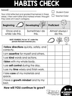 Parent Teacher Conference and Report Card Habits Checklist. Perfect for Leader in Me classrooms! Parent Teacher Conference and Report Card Habits Checklist. Perfect for Leader in Me classrooms! Student Behavior, Classroom Behavior, Classroom Management, Behavior Report, Classroom Discipline, Behaviour Management, Classroom Rules, Classroom Environment, Leadership Notebook