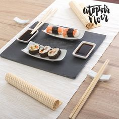 If you want to give your dinners a special touch, don't miss out on the sushi set with slate tray Atopoir Noir pieces). Your guests will be amazed by its exclusive design and functional use.: 30 x 1 x 24 cm), 2 . Sushi Set, Sushi Plate, Chopstick Rest, Japanese Sushi, Private Chef, Le Diner, Chopsticks, Dishes, Retro