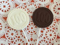 Number 100 Chocolate Lollipops  100th Birthday by DeliciousCandyCo