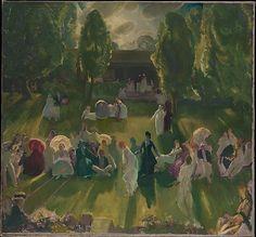 Tenis en Newport  George Bellows (norteamericano, Columbus, Ohio 1882-1925 New York City)  Fecha: 1919 Medio: Óleo sobre lienzo Dimensiones: 40 x 43 1/4 pulgadas (101,6 x 109,9 cm)