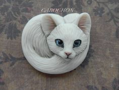 """Cabochons """"White Cat"""" Porcelain by Laura Mears"""