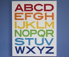 Find a font you like and create your own wall art, get color prints at Tallgrass copies, frame it and you have your own kids room art at an affordable price!