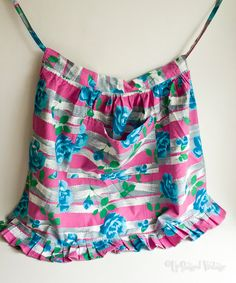 Vintage Homemade 1950s Pink & Blue Floral Housewife Baking Apron by UpStagedVintage on Etsy
