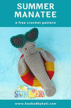 Summer Manatee   Free Crochet Pattern   Hooked by Kati Crochet For Kids, Crochet Toys, Free Crochet, Amigurumi Patterns, Crochet Patterns, Manatee, Looks Cool, Slip Stitch, Free Pattern