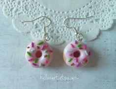 Boucles d'oreilles Donut fraise multicolore