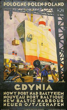Polish Travel Poster by Stefan Norblin, 1925, Gdynia.