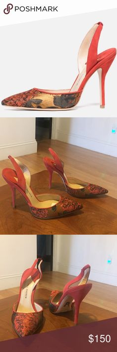 """NWT PAUL ANDREW Passion Jacquard Slingbacks Sz 37 Guaranteed Authentic. Org retail: $700. New, never worn; with tags. Jacquard front, with burnt orange suede back/heels. Elasticized ankle strap. 4"""" heel. Made in Italy. Faint marks on the suede body from store handling. NO TRADES. Open to offers through the offer button ☺️ Paul Andrew Shoes Heels"""