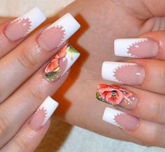 10 Simple and Easy Nail Art Designs: Pink and White Nails with Flower Pattern