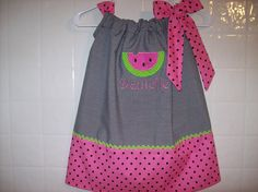 Watermelon Custom BOUTIQUE personalized PILLOWCASE Dress. $27.90, via Etsy.